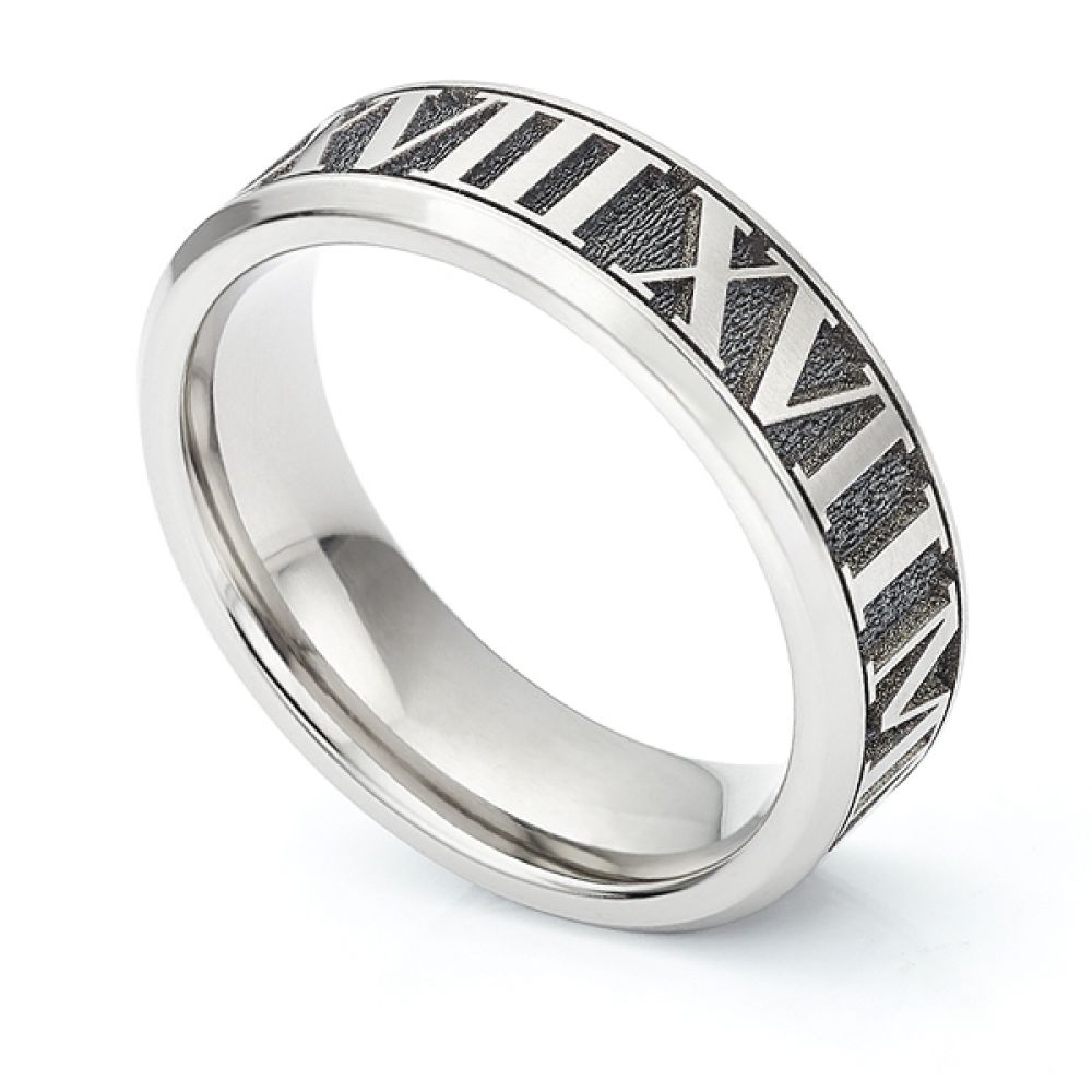 Roman Numeral Engraved Wedding Ring