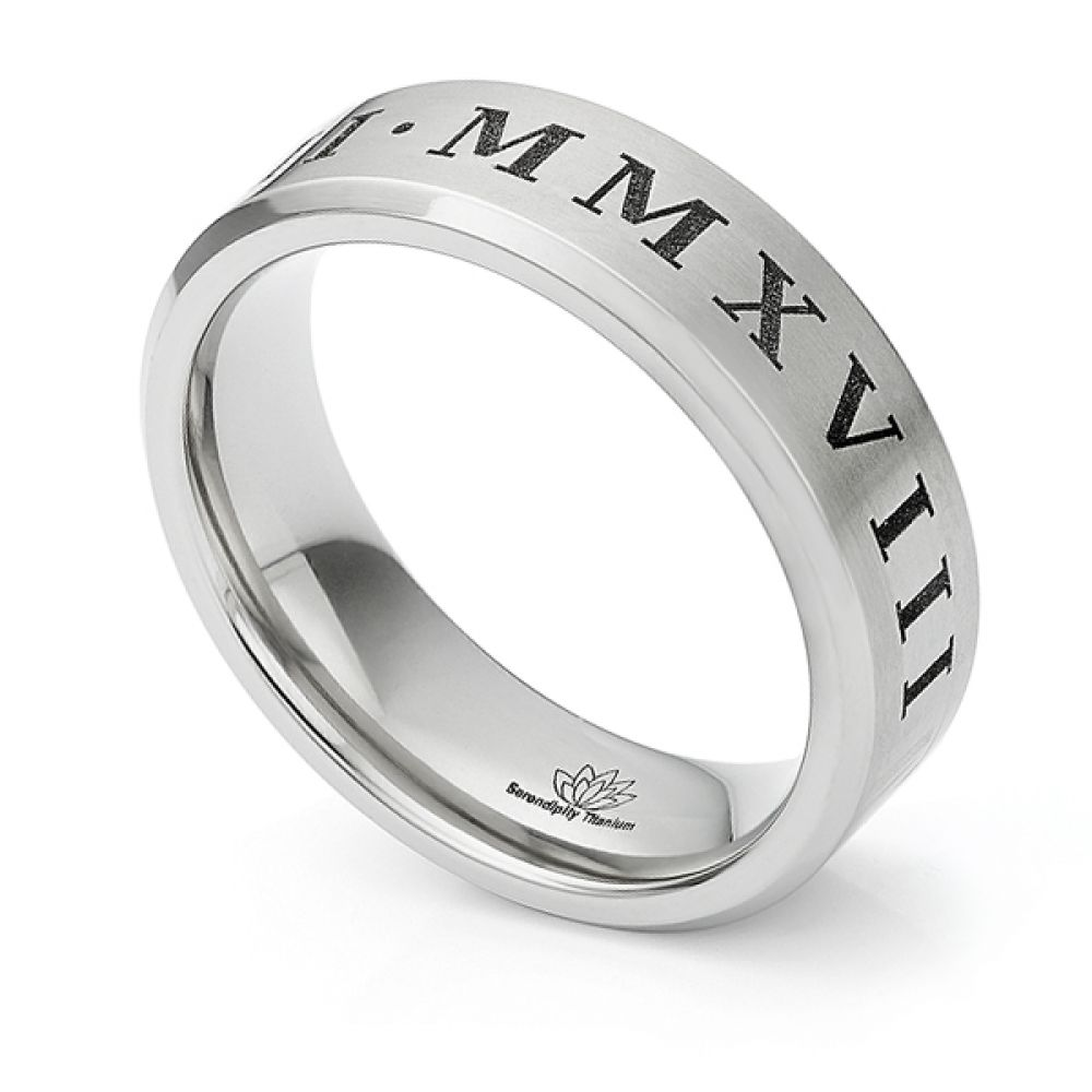 Titanium Roman Numeral engraved wedding ring in Titanium featuring bevelled edges and a satin finish.