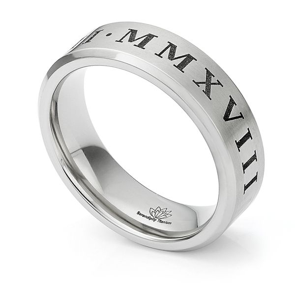 Titanium Roman Numeral Wedding Ring Main Image