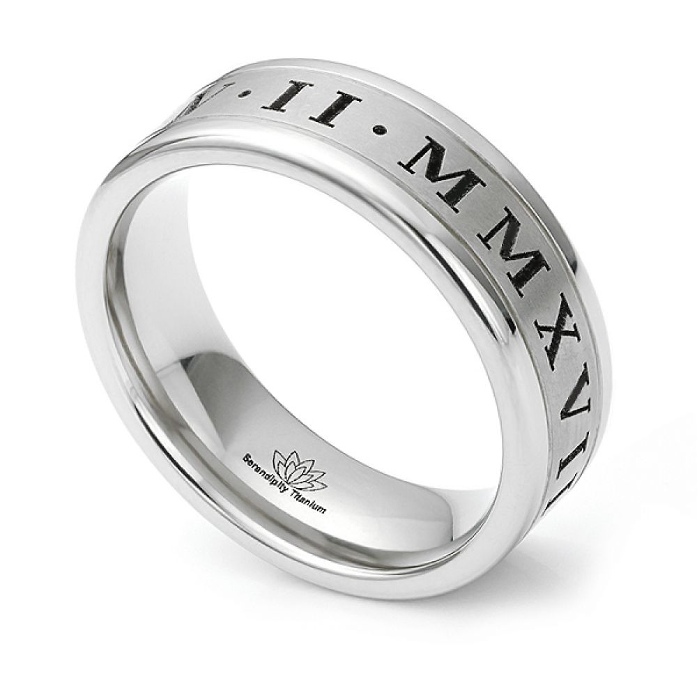 Roman numeral engraved wedding ring with polished edges
