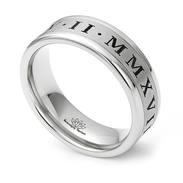 Roman Numeral Engraved Wedding Ring Main Image