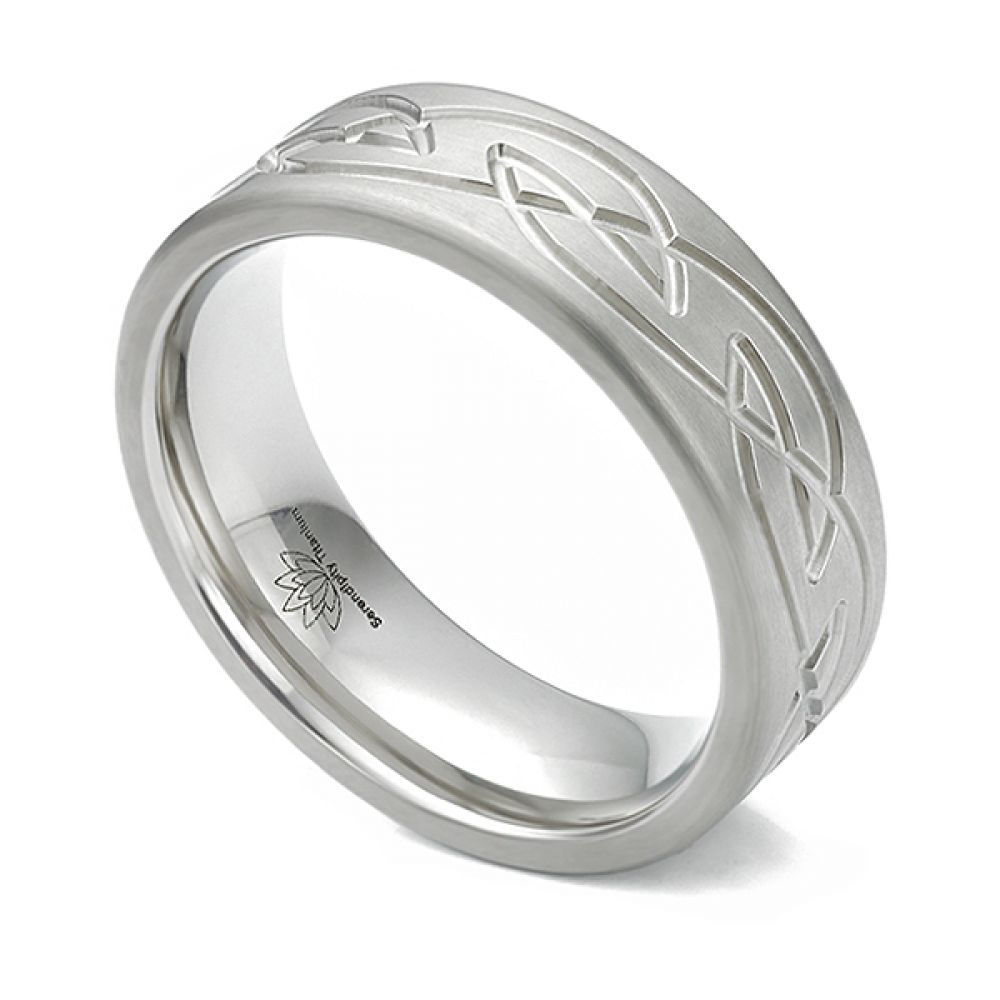 Satin finished Celtic patterned wedding ring in Titanium