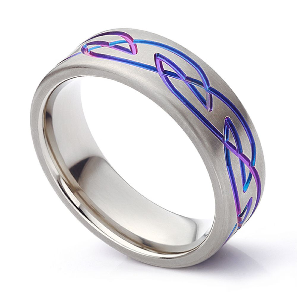 Purple Celtic patterned wedding ring in Zirconium