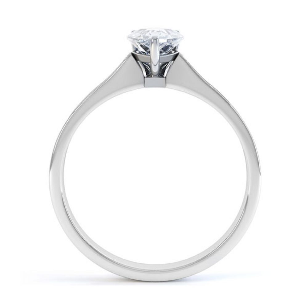 Pear-Shaped Engagement Ring with Diamond Shoulders Side view - White