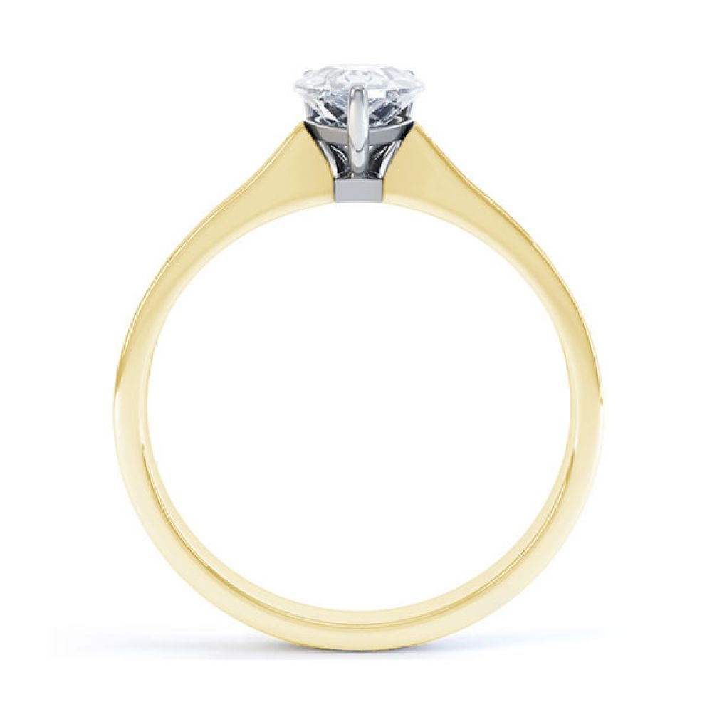 Pear-Shaped Engagement Ring with Diamond Shoulders Side view - Yellow