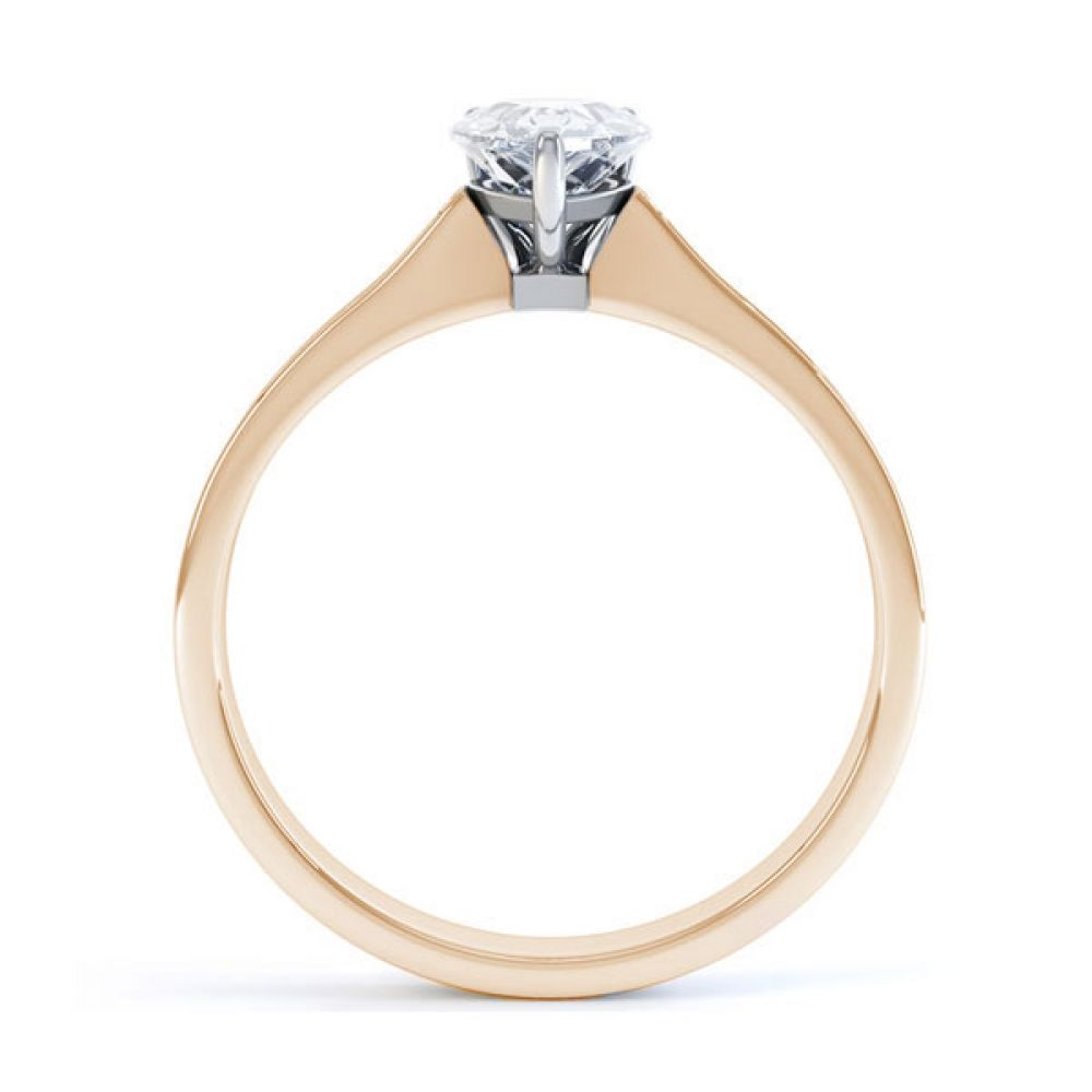 Pear-Shaped Engagement Ring with Diamond Shoulders Side view - Rose