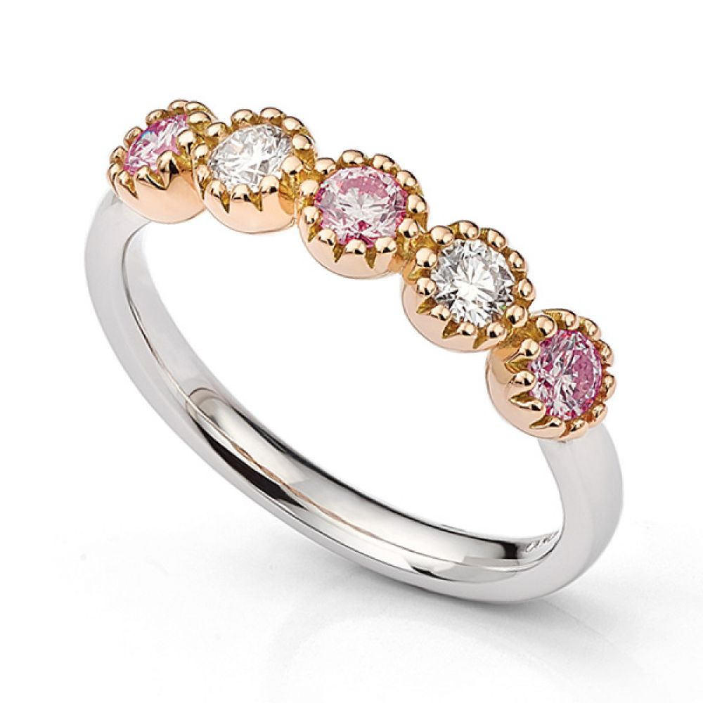 Calista Pink Sapphire and Diamond 5 Stone Ring in Rose Gold