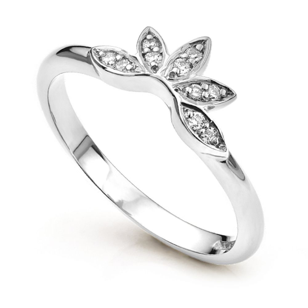 Floral enhancer shaped diamond wedding ring in white gold