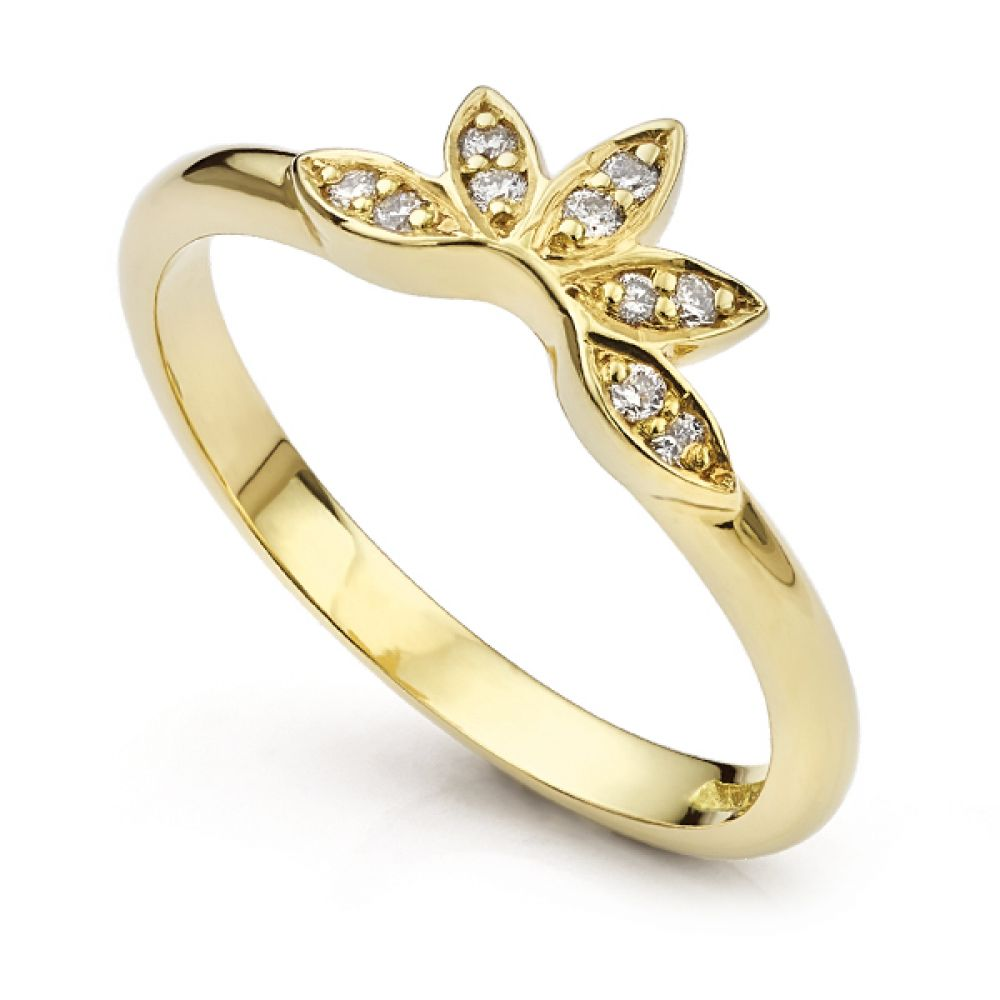 Flower styled diamond wedding ring yellow gold