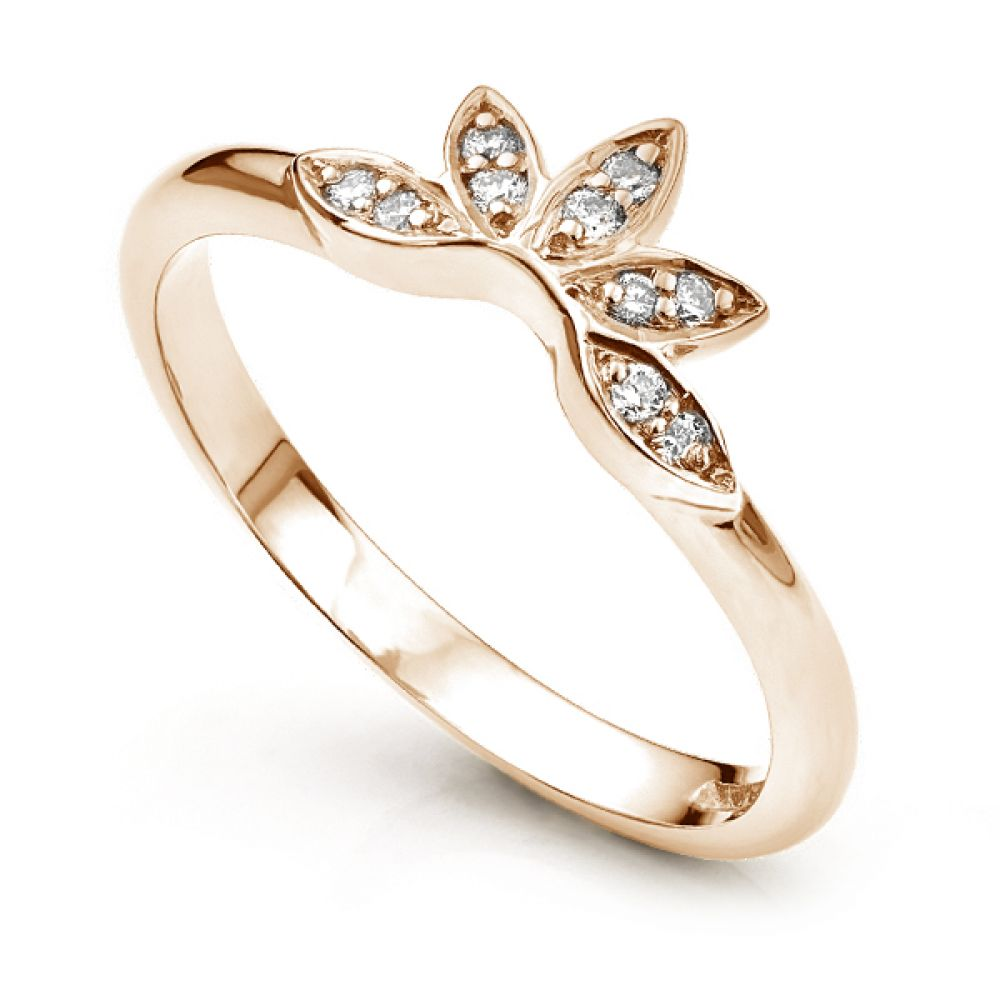 Flower styled shaped diamond wedding ring Rose Gold