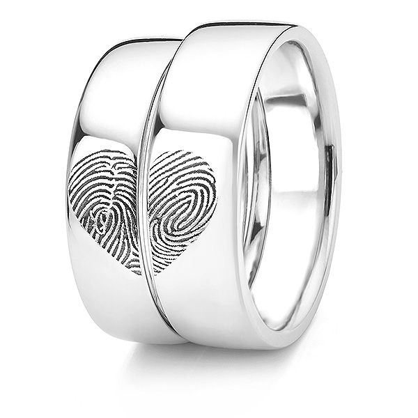 Heart Fingerprint Wedding Ring Main Image