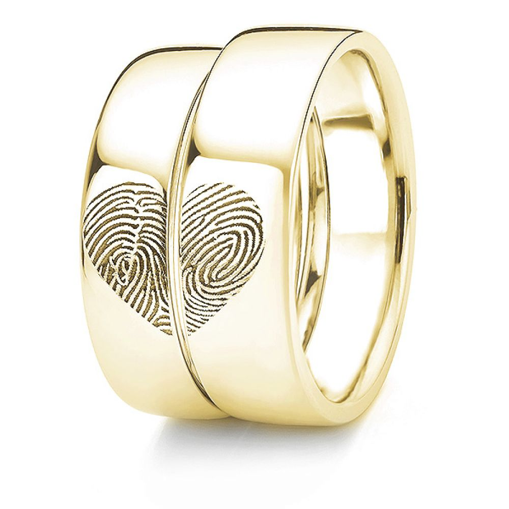 Yellow Gold fingerprint wedding rings