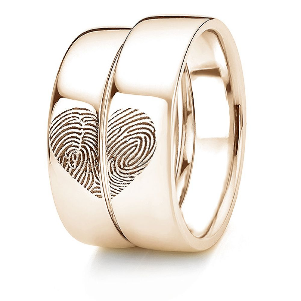 Rose gold fingerprint wedding rings