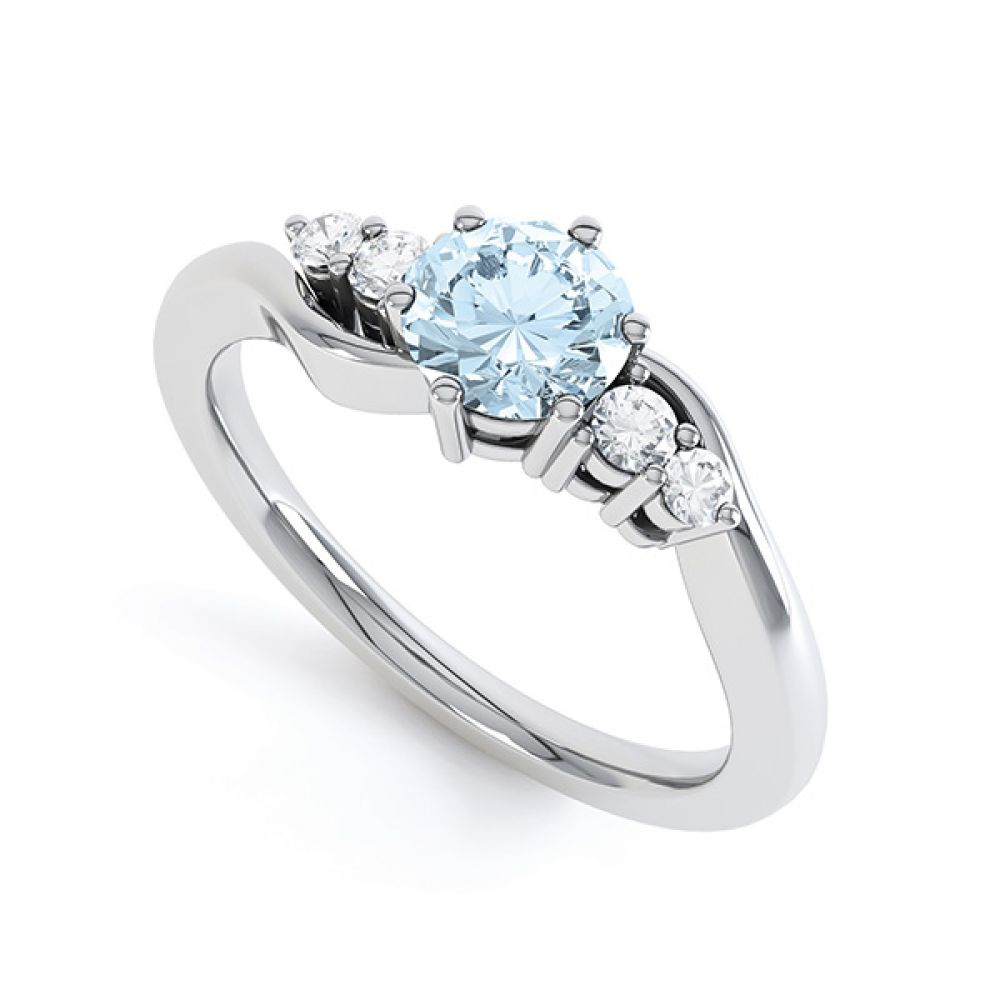 Tickled blue engagement ring perspective view in white gold