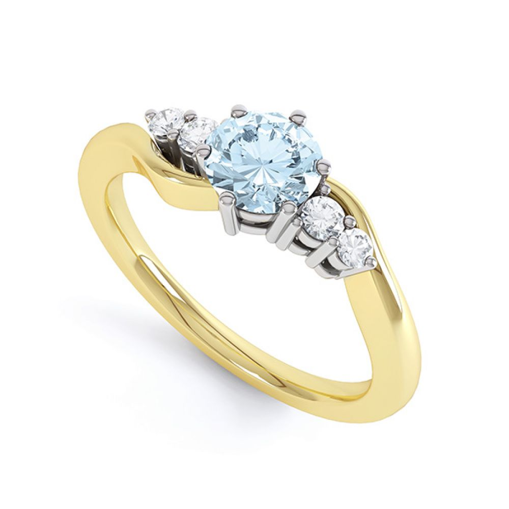 Tickled blue engagement ring perspective view in yellow gold