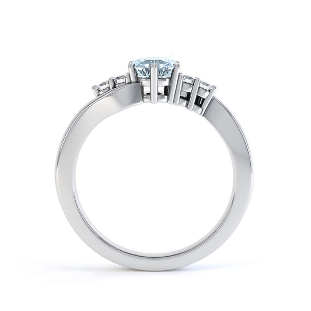 Tickled blue engagement ring side view in white gold