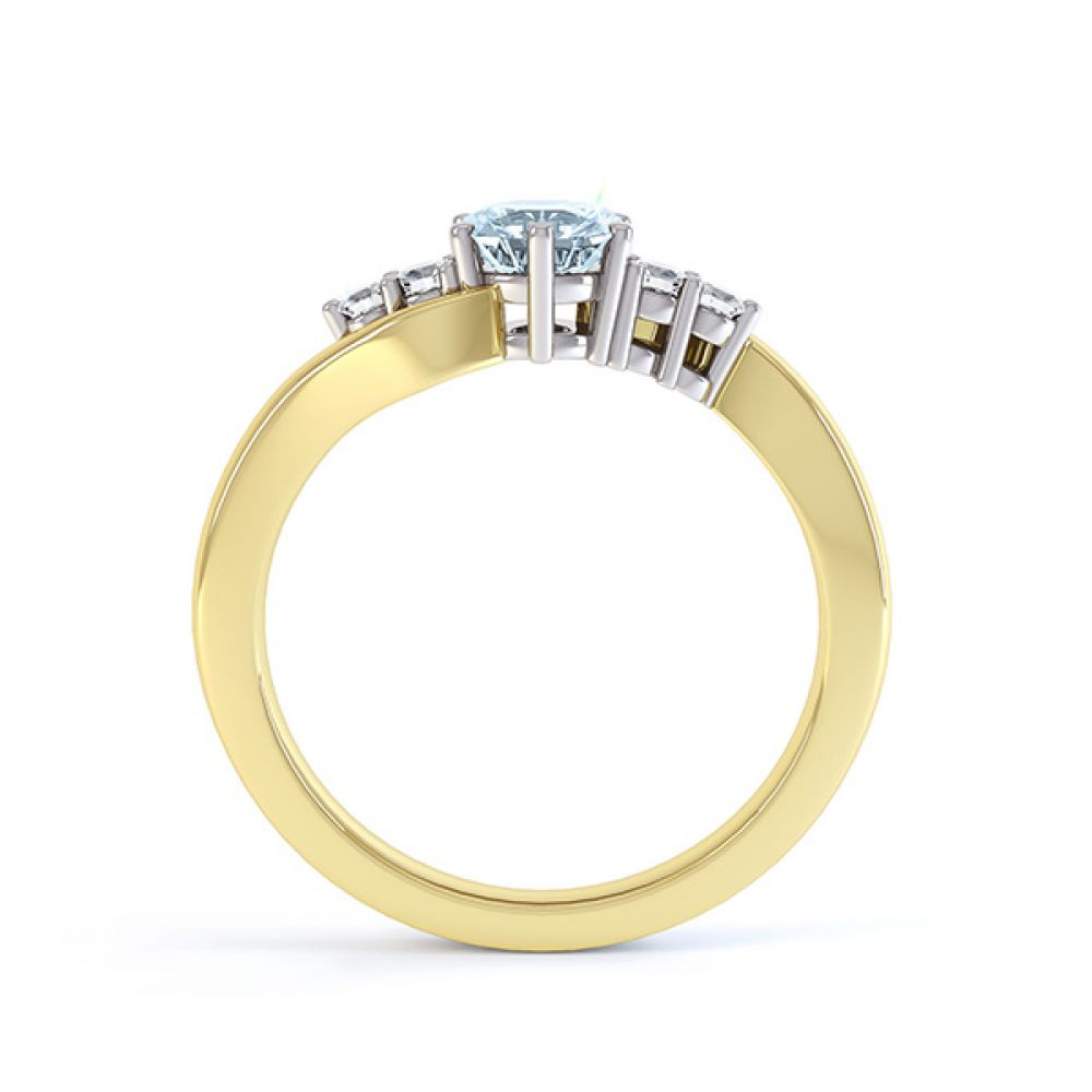 Tickled blue engagement ring side view in yellow gold