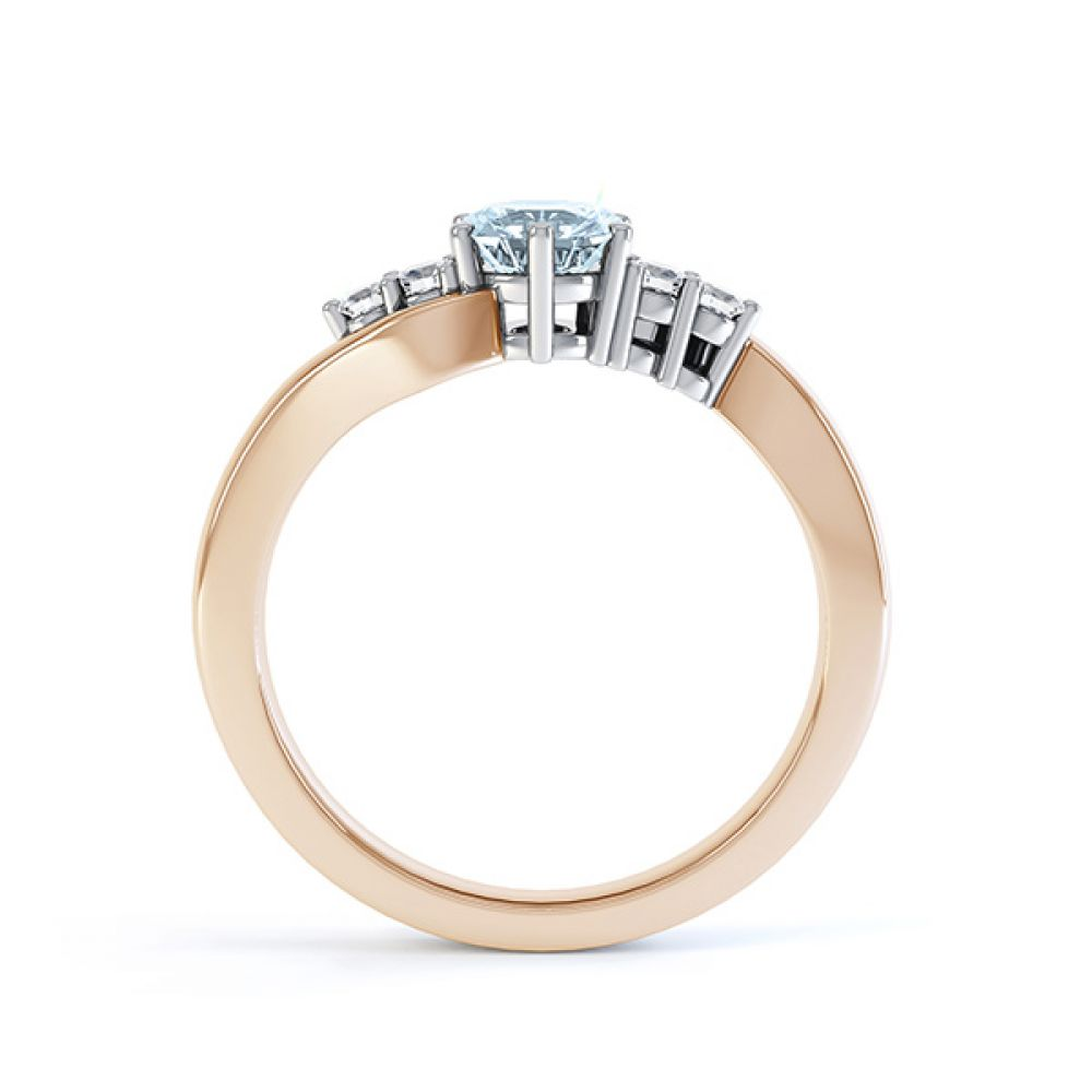 Tickled blue engagement ring side view in rose gold
