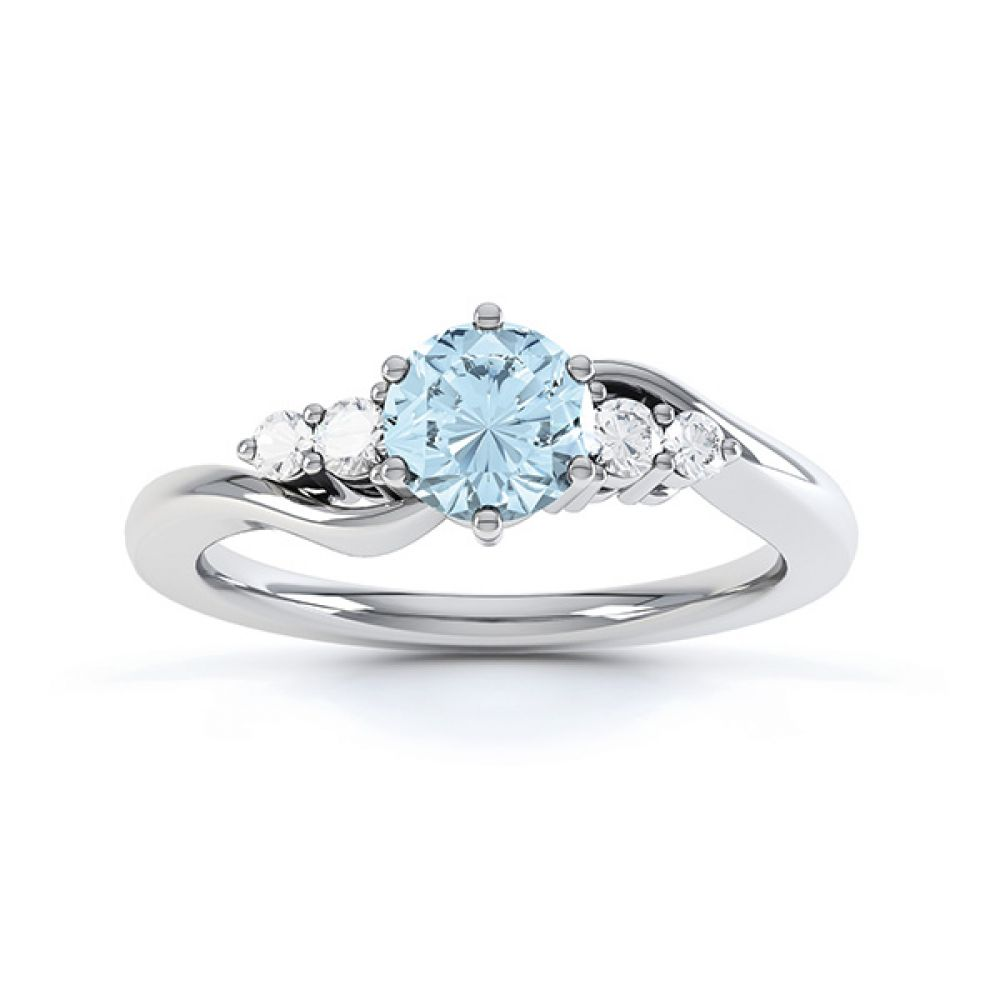 Tickled blue engagement ring top view in white gold