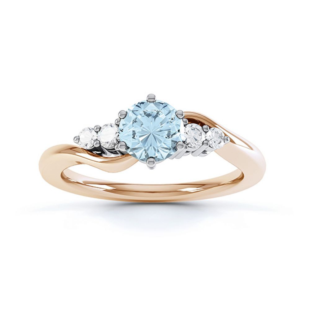 Tickled blue engagement ring top view in rose gold