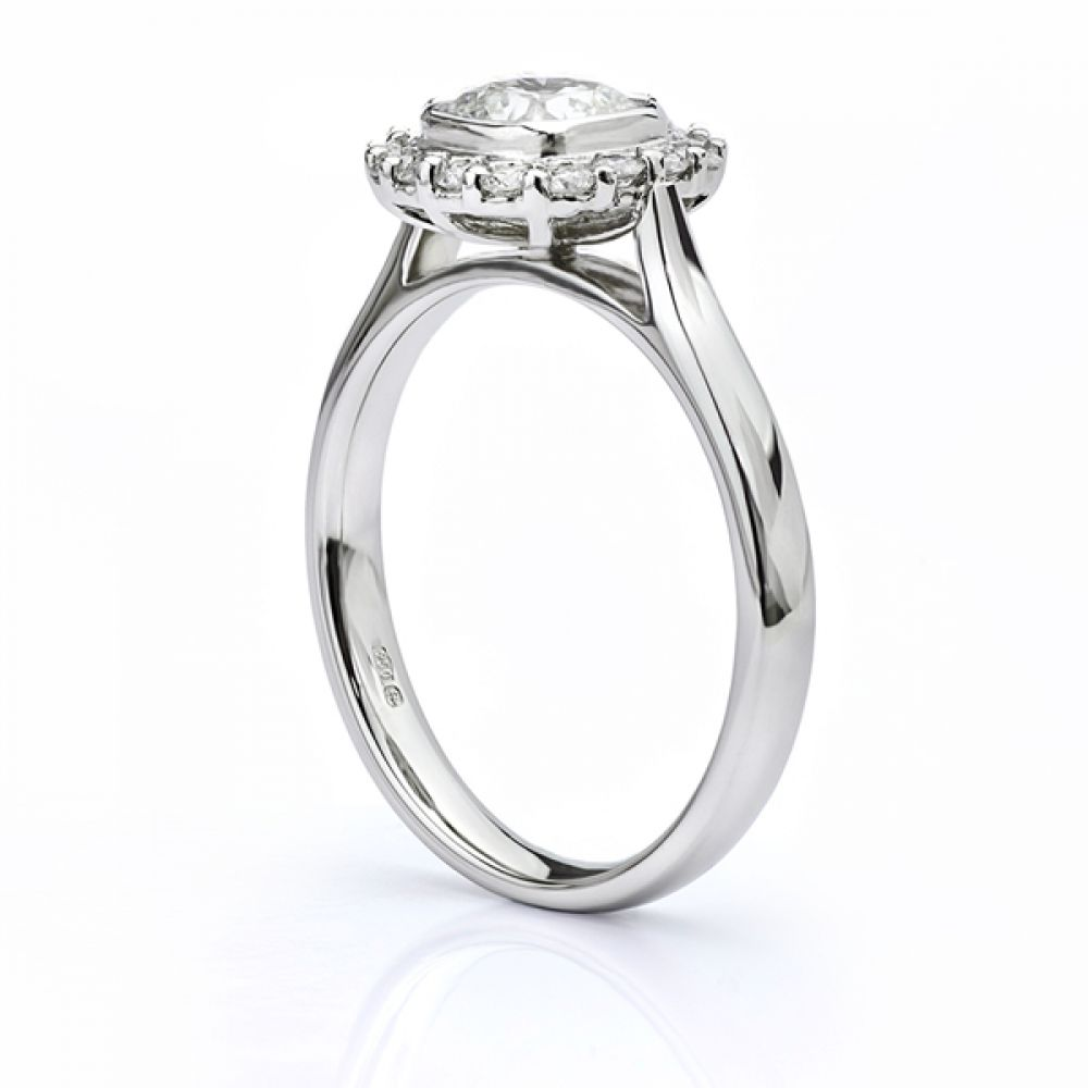 Eclipse Cushion cut diamond halo engagement ring white gold side view
