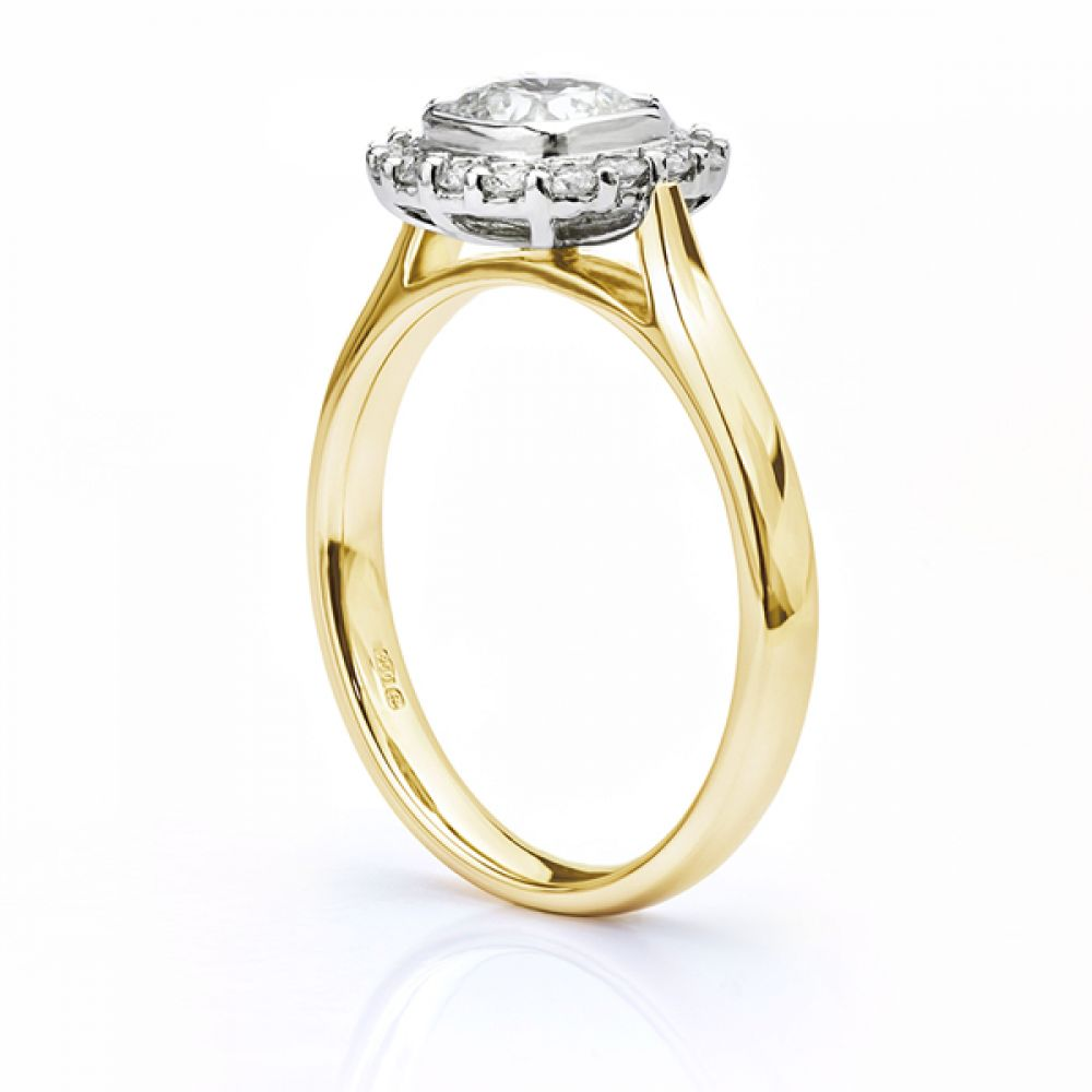 Eclipse Cushion cut diamond halo engagement ring yellow gold side view