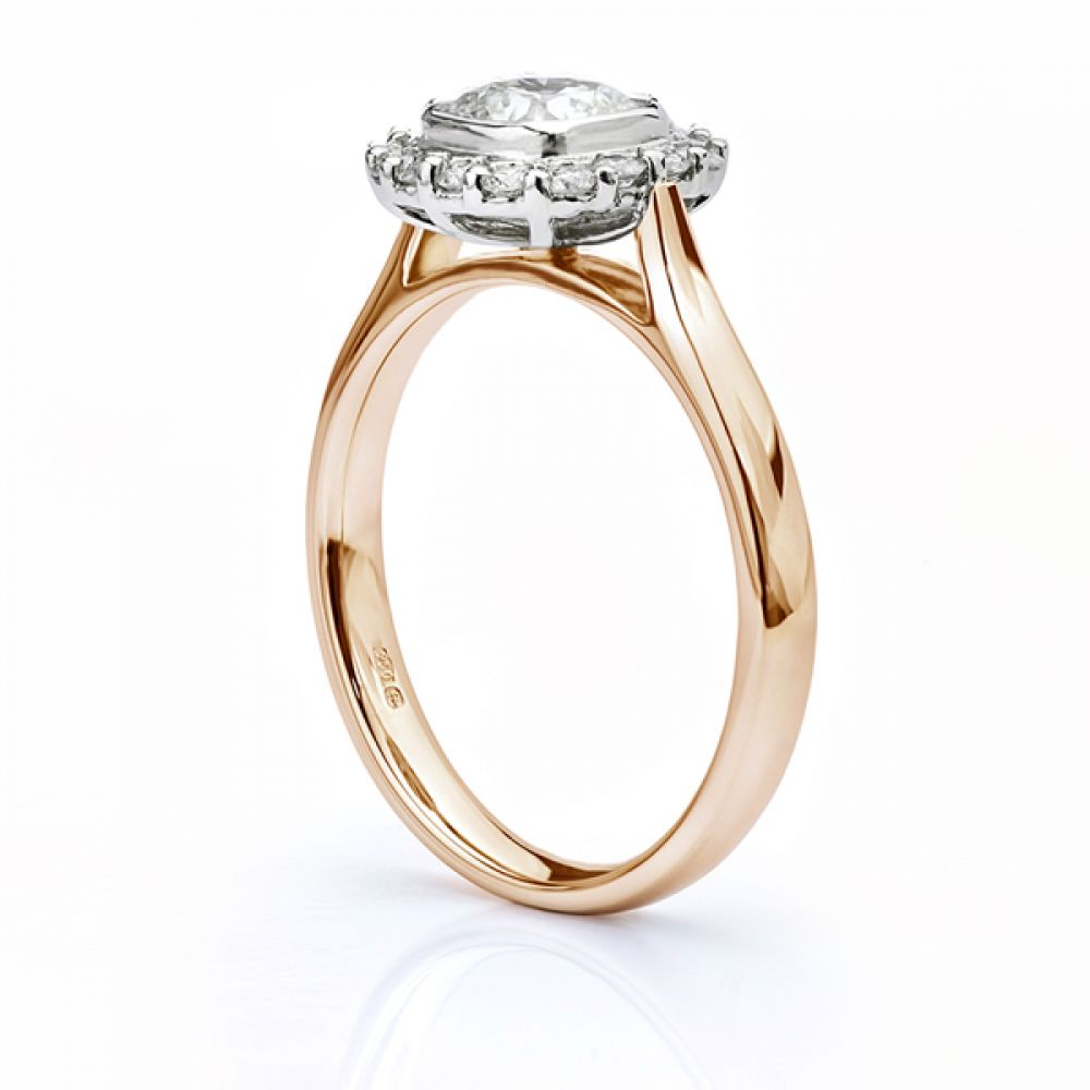 Eclipse Cushion cut diamond halo engagement ring rose gold side view