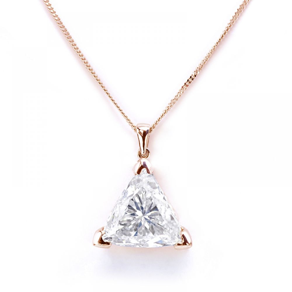Rose Gold Trilliant Cut Diamond Pendant Solitaire