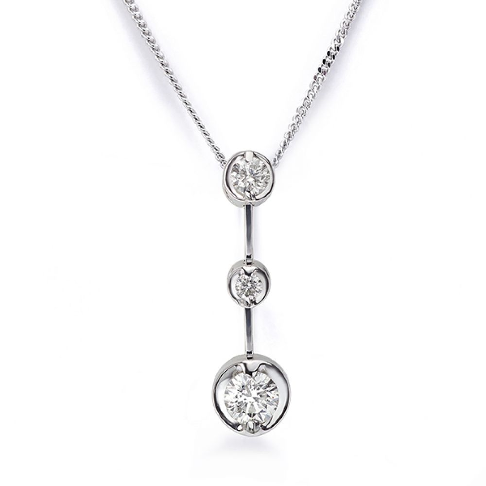Cascade diamond drop pendant in 18ct White Gold
