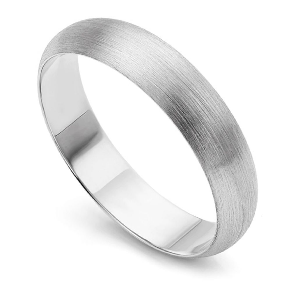White Gold Brushed Finish Dome Wedding Ring