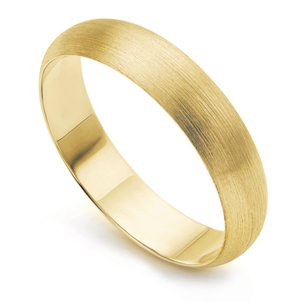 Yellow Gold Brushed Matte Finish Wedding Ring