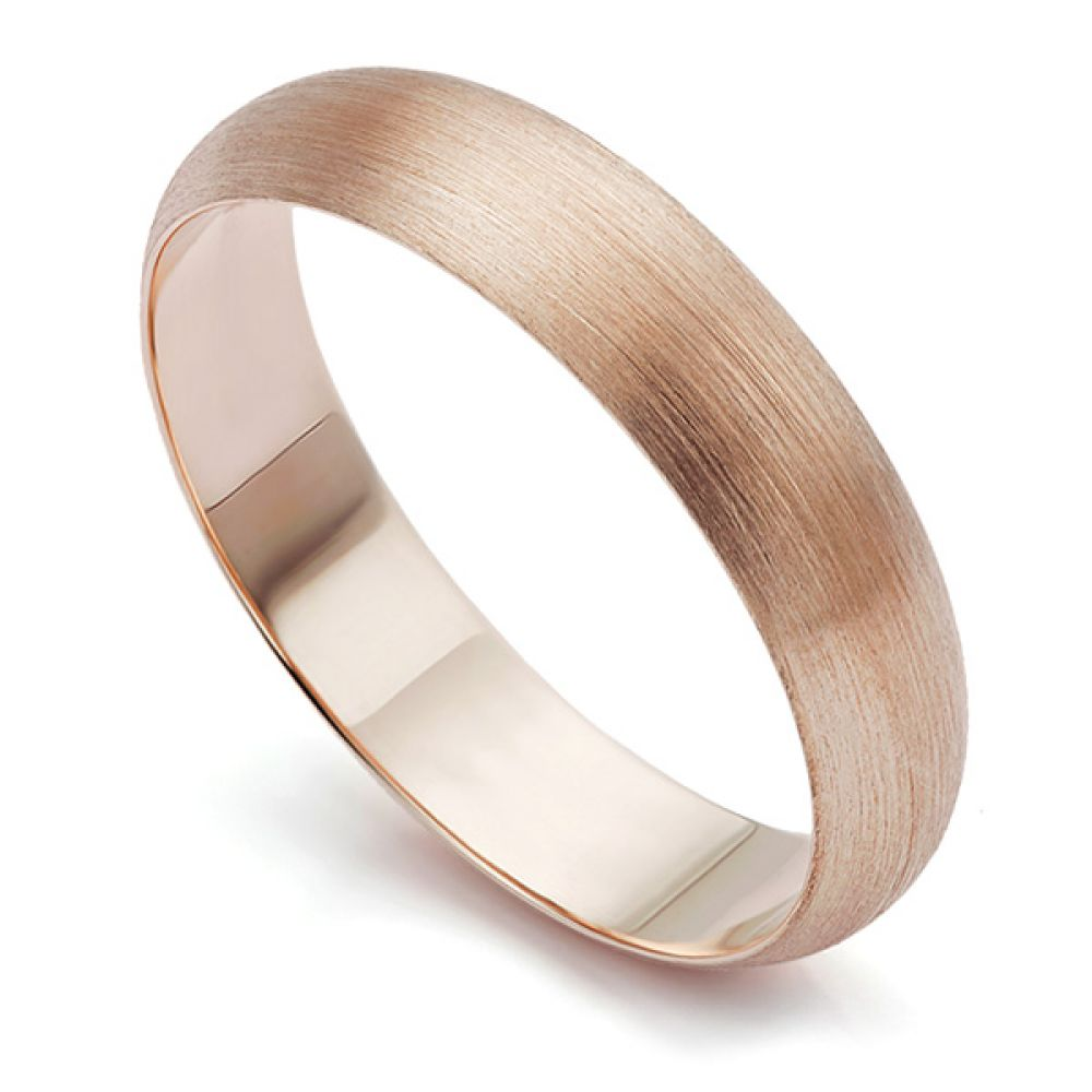 Rose Gold Brushed Matte Finish Wedding Ring