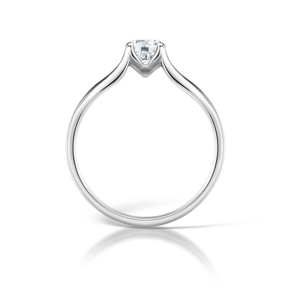 Round Diamond Engagement Ring with Plain Double Shoulders Side View