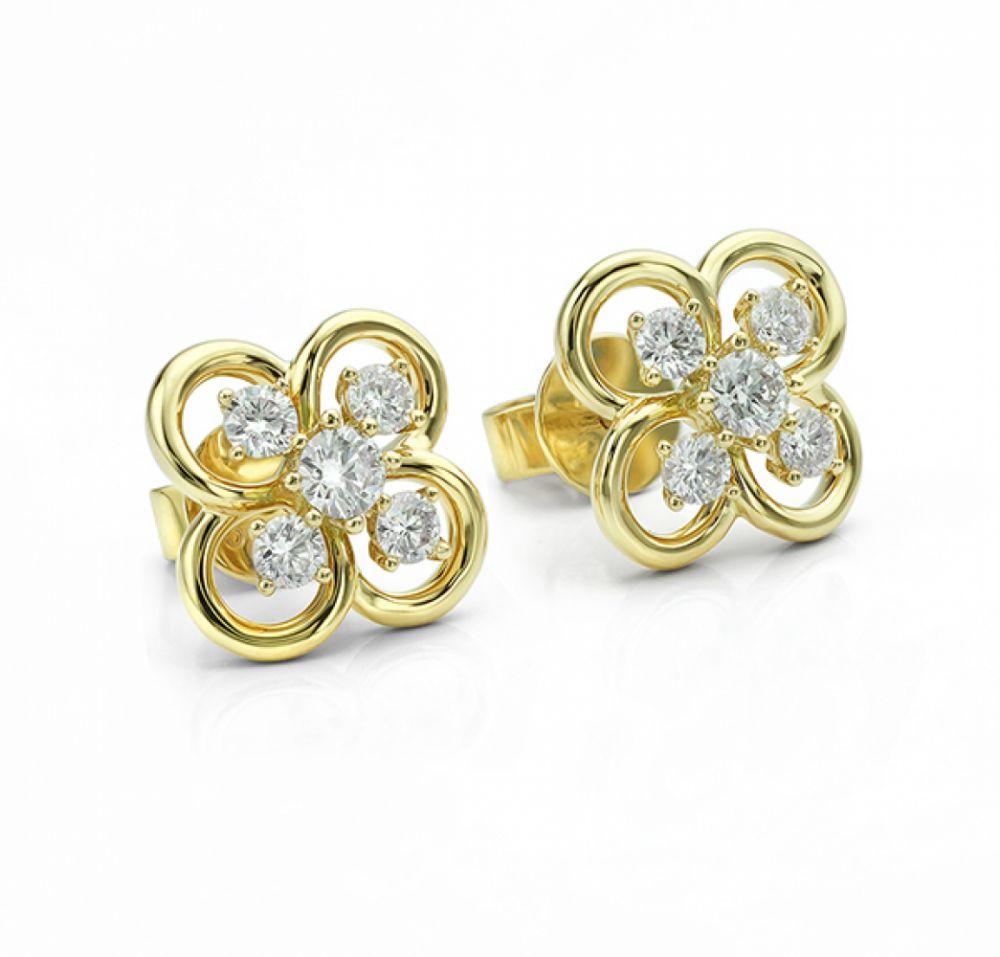 Blossom Yellow Gold Diamond Earrings