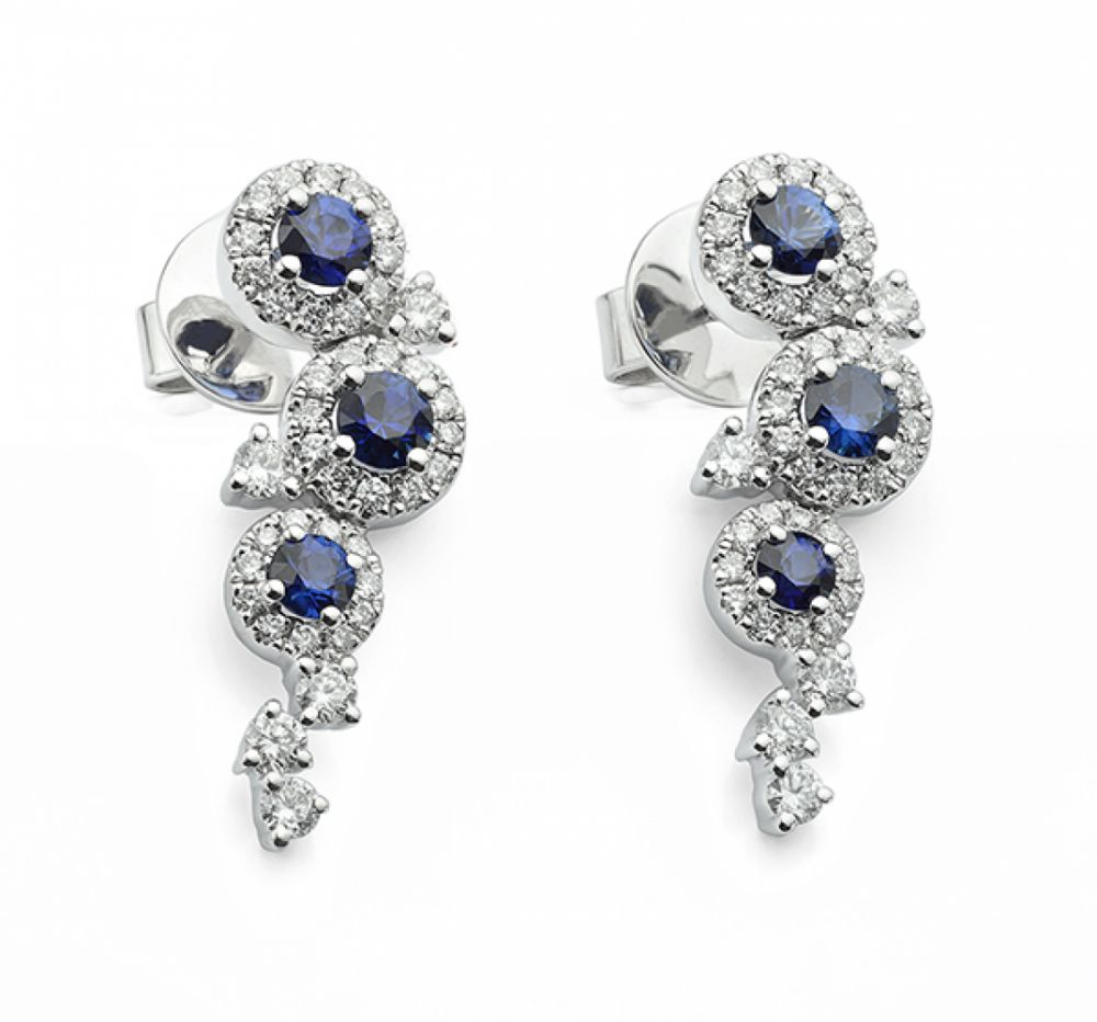 Dew Diamond and Blue Sapphire Drop Earrings