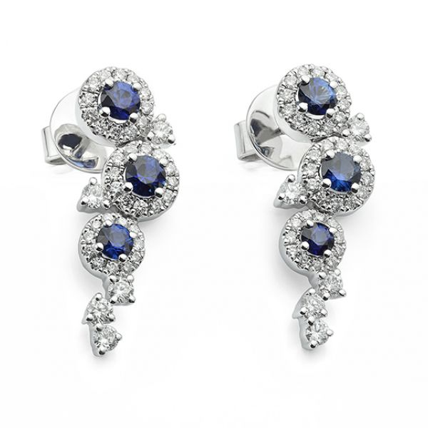 Dew Diamond and Blue Sapphire Earrings Main Image