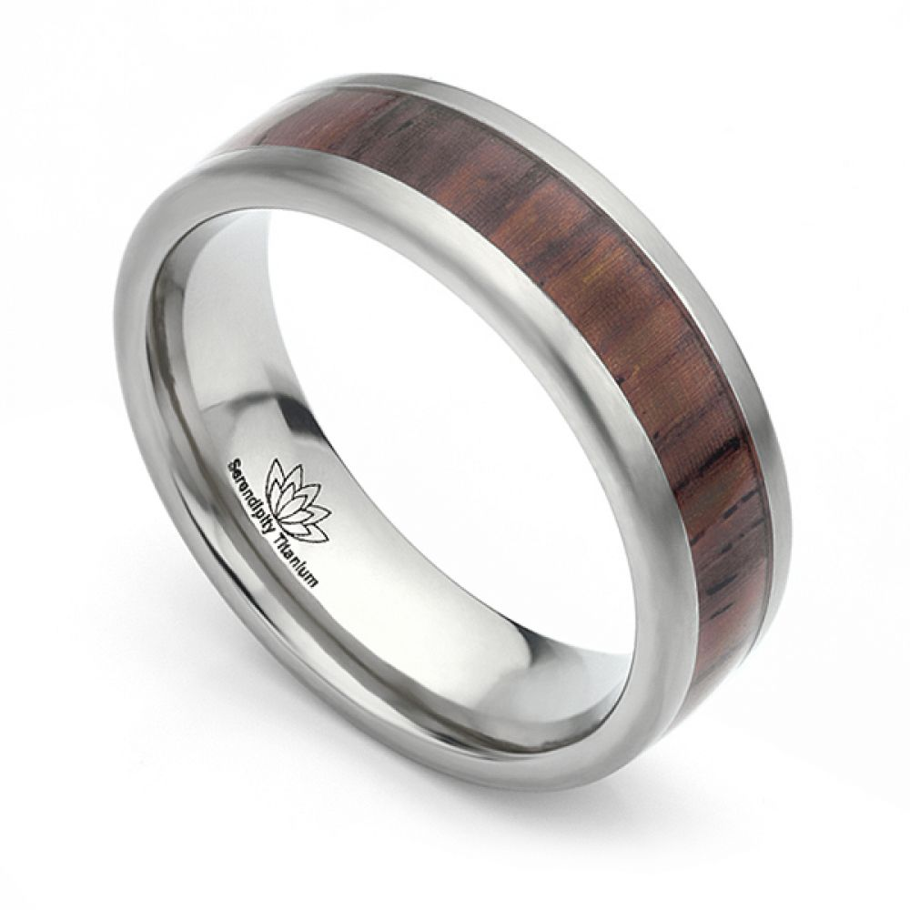 Cocobolo Wood Inlaid Titanium Wedding Ring