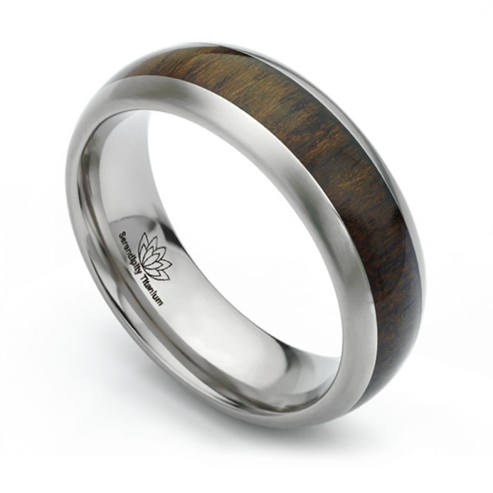 Ziricote inlaid wood inlaid Titanium wedding ring