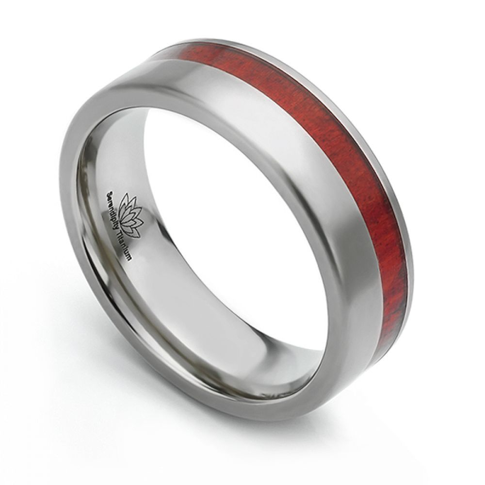 Redheart wood inlaid Titanium wedding ring - Chakte Kok
