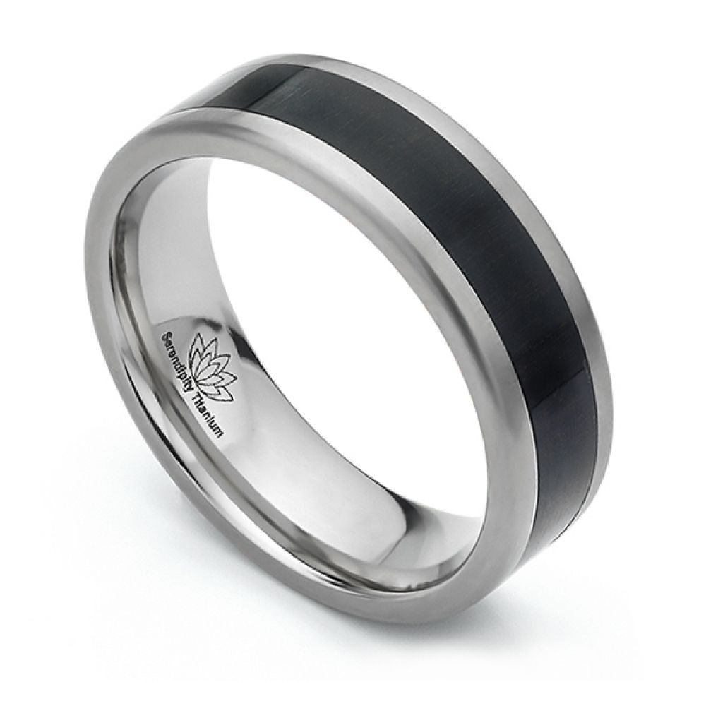 African Ebony Wood Inlaid Titanium Wedding Ring