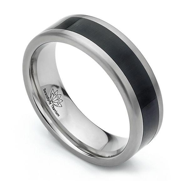 Ebony Wood Inlaid Wedding Ring Main Image