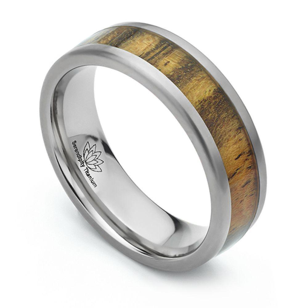 Bocote Wood Inlaid Titanium Wedding Ring