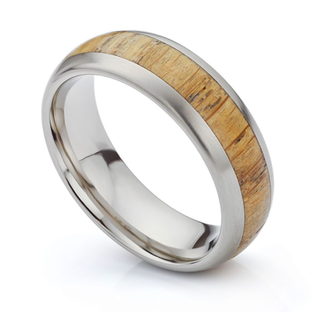 Oak Wood Inlaid Titanium Wedding Ring