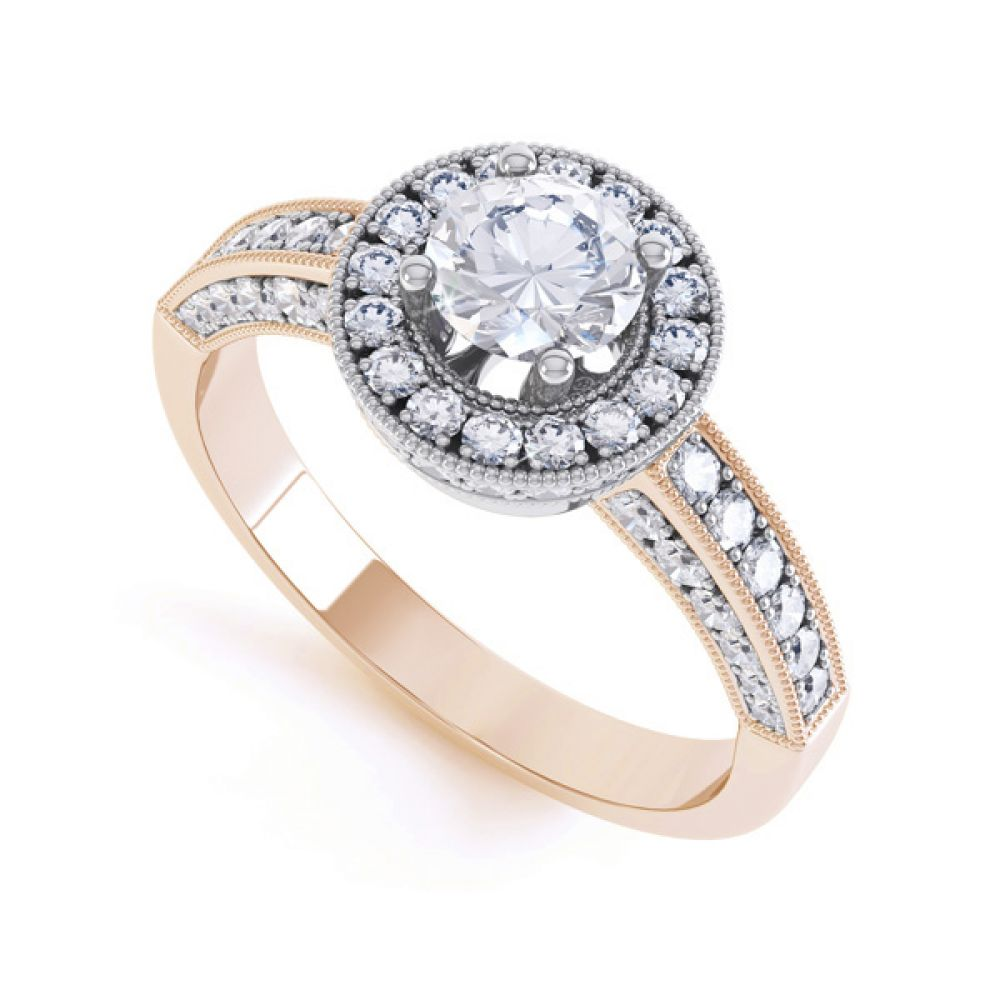Vintage Styled Milgrain Diamond Halo Ring - Rose - perspective