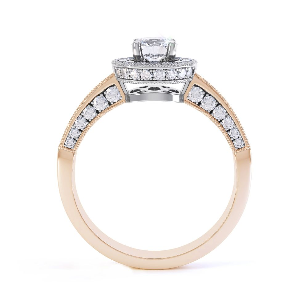 Vintage Styled Milgrain Diamond Halo Ring - Rose - Side
