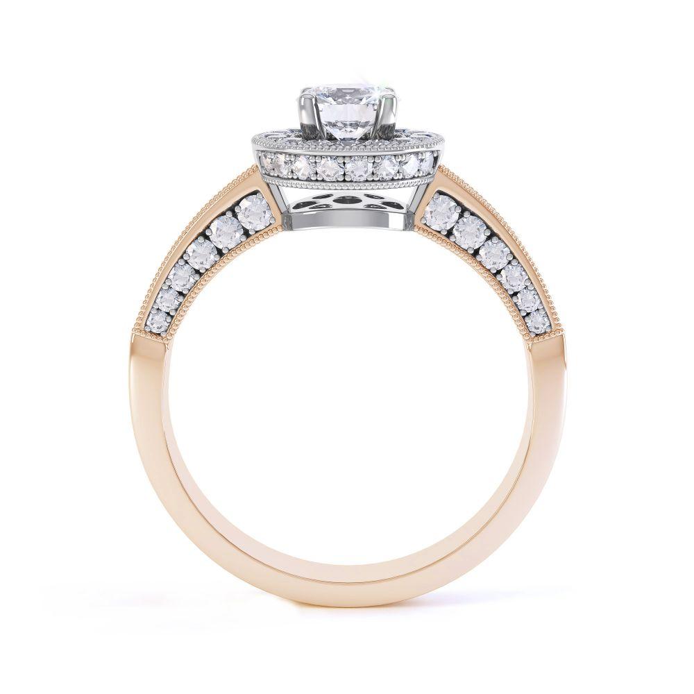 Vintage Styled Milgrain Diamond Halo Ring - Rose - Side