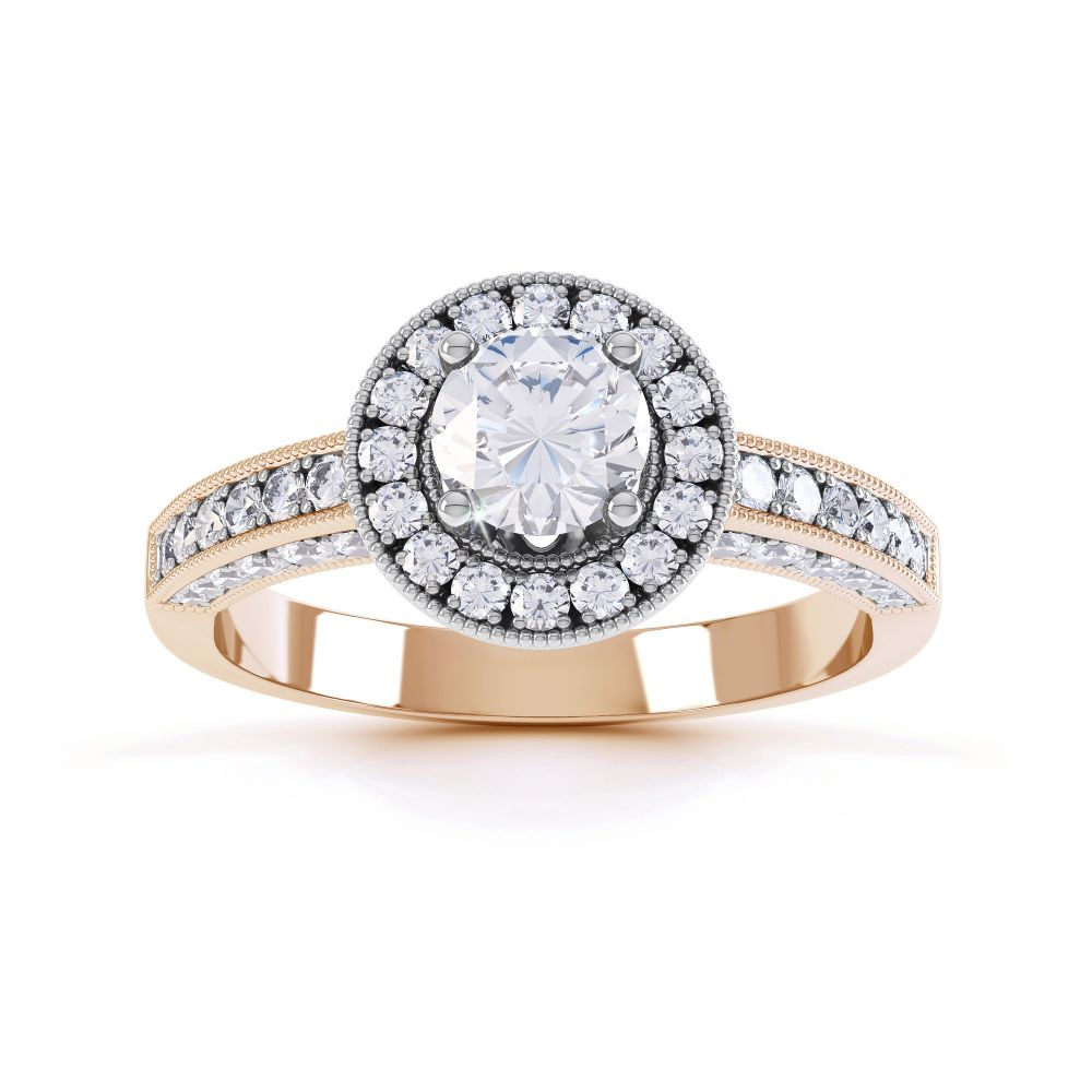 Vintage Styled Milgrain Diamond Halo Ring - rose - Top