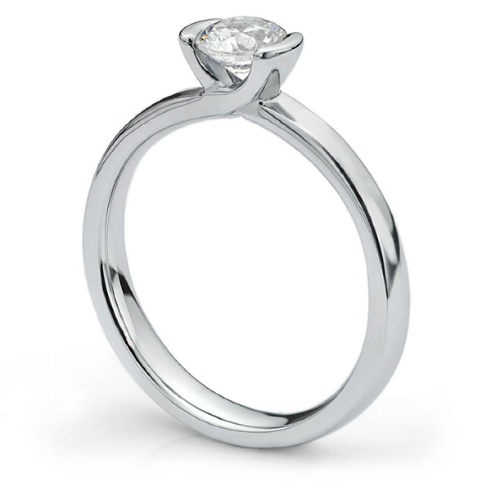 Semi-bezel set engagement ring Annabelle in white gold side view