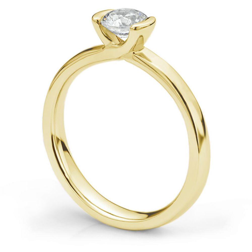 Semi-bezel set engagement ring Annabelle in yellow gold side view