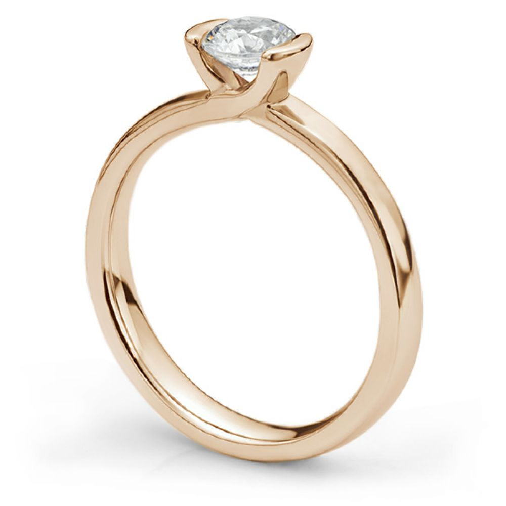Semi-bezel set engagement ring Annabelle in rose gold side view